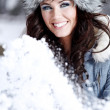 Beautiful woman playing with snow — Stock Photo #1776437