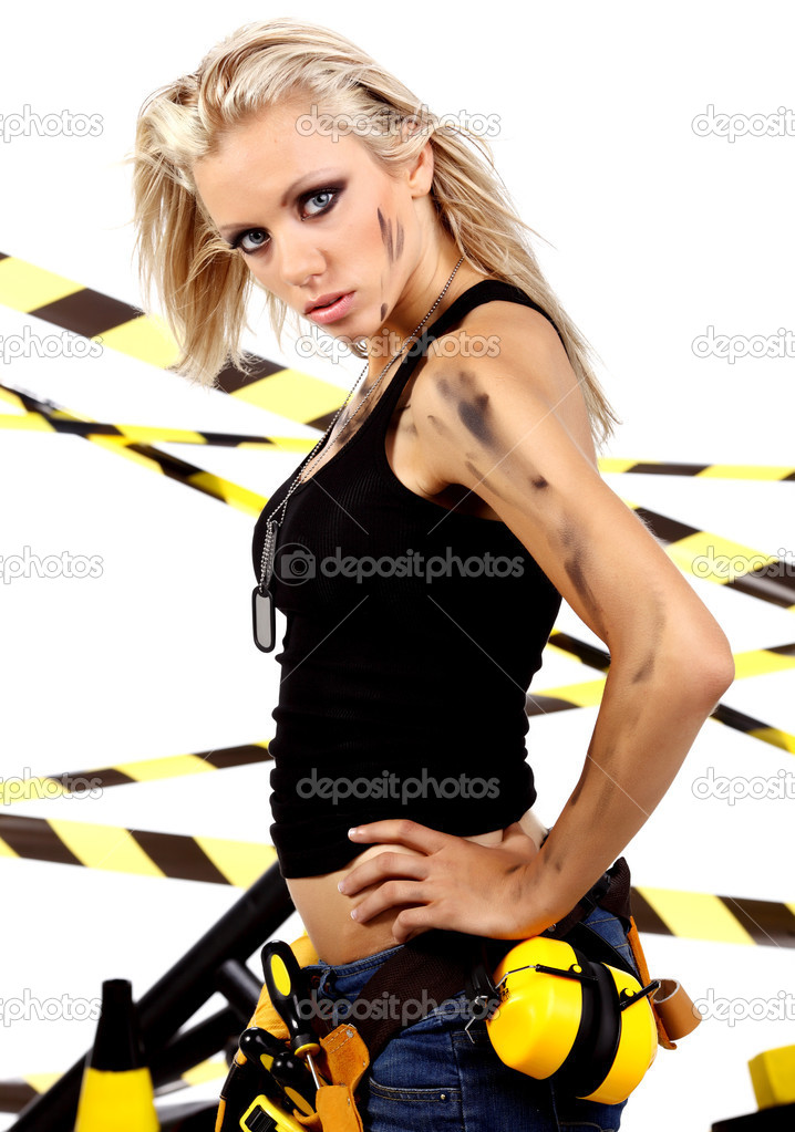Female construction worker . Black and yellow concept. — Stock Photo #1775595