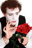 Mime holding a rose , — Stock Photo