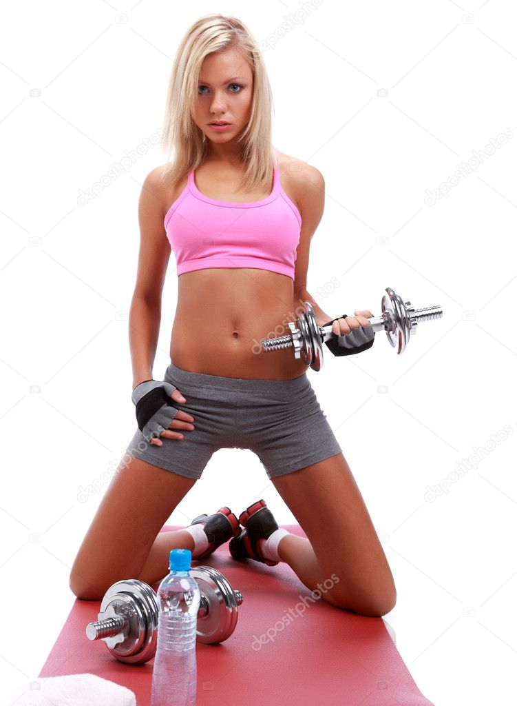 Blonde Girl Working Out