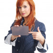 Woman with blank businesscard — Stock Photo