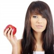 Woman eating red apple. — Stock Photo