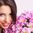 Stock Photo: Woman face with flowers