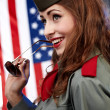 Sexual pinup woman in military clothing — Foto de Stock