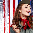 Sexual pinup womin military clothing — Stock Photo #1824074