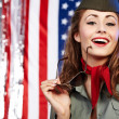 Sexual pinup woman in military clothing — Stock Photo #1824381