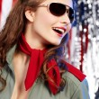Stock Photo: Sexual pinup woman in military clothing