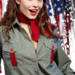 Foto Stock: Sexual pinup woman in military clothing