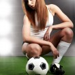 Sexy soccer player, — Stock Photo