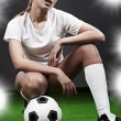 Sexy soccer player — Stock Photo