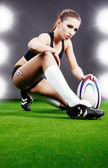 Rugby girl — Stock Photo