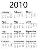 Calendário de 2010 — Vetorial Stock