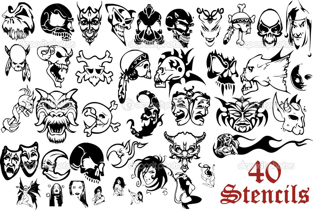Stencils for airbrush, painting, tattoo or drawing  Stock Vector #1625002