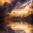 Reflection of lightning - Stock Photo