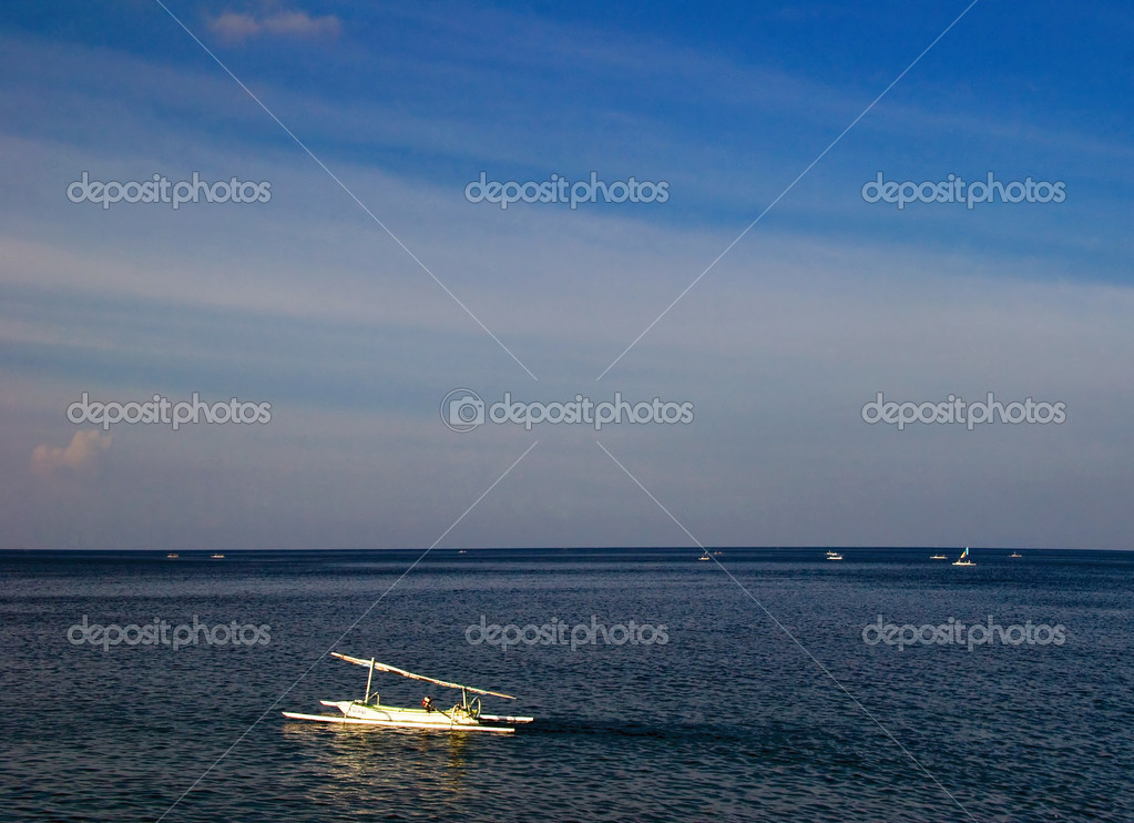 Traditional asian boat  in the sea. Bali. Indonesia — Stock Photo #1618972