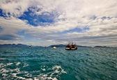 Lodě na moři. — Stock fotografie