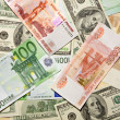Dollar ana euro banknotes, abstract back — Stock Photo