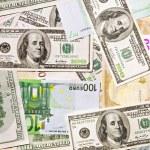 Dollar ana euro banknotes, abstract back — Stock Photo