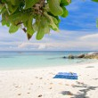 Beach with white sand and sea — Stock Photo