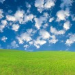 Green hill under blue cloudy sky whit su — Stok fotoğraf