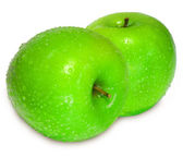 Two fresh green apple with water drops o — Stock Photo
