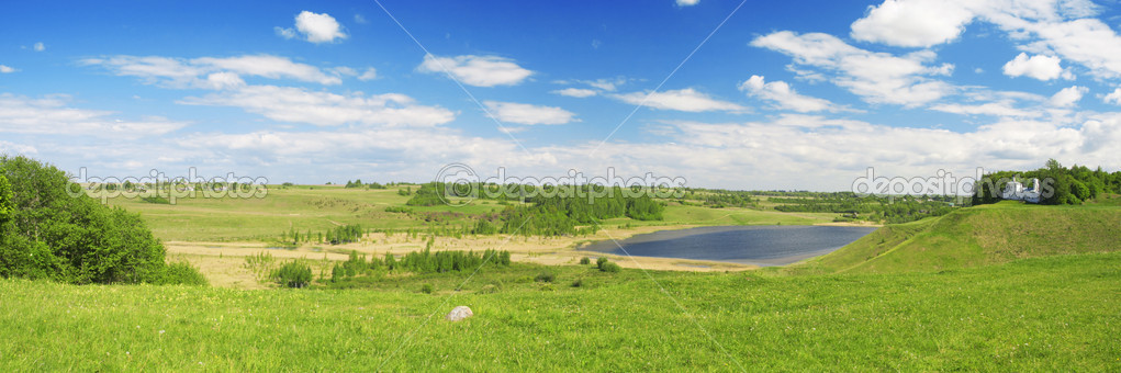 Panorama of beautiful green valley. Izborsk, Pskov region, Russia. — Stock Photo #1615799