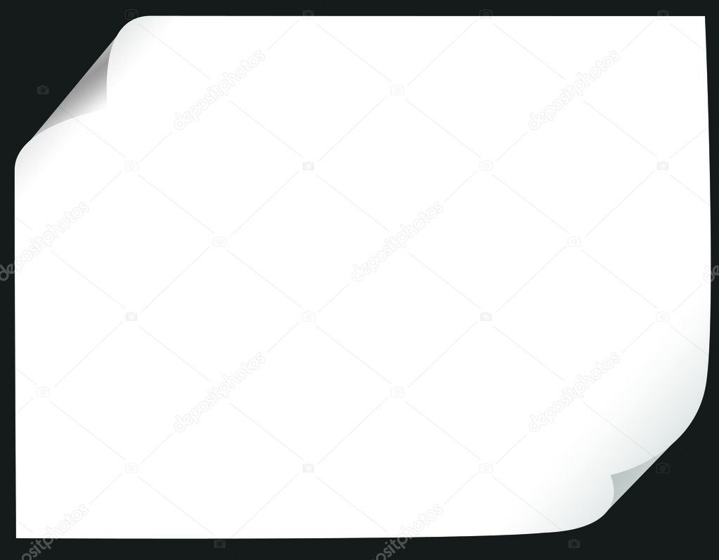 Paper blank with curl over black  Stock Photo #1616666