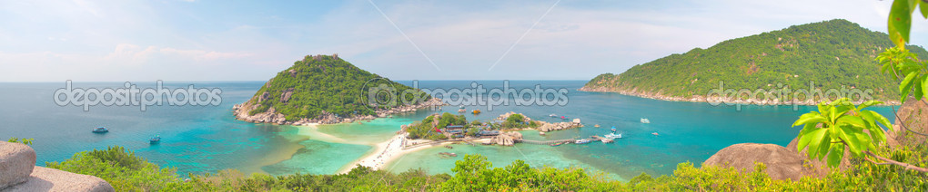 Panoramic tropical sea and island — Stock Photo #1617032