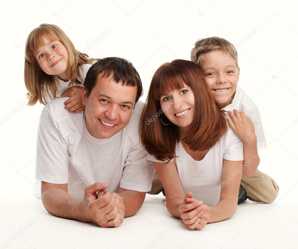 Happy family with two children separately on a white background  Stock Photo #1700944