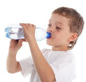 Child with a water bottle — Stock Photo