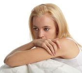 Worried young woman — Stock Photo