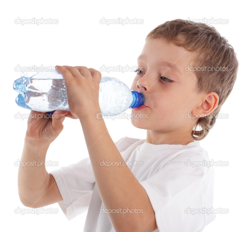 Boy with a water bottle isolated on white — Stock Photo #1804723