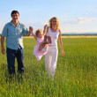 Family going across the field — Stock Photo
