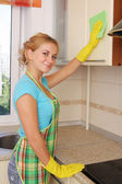 Girl washes kitchen set 2 — Stock Photo