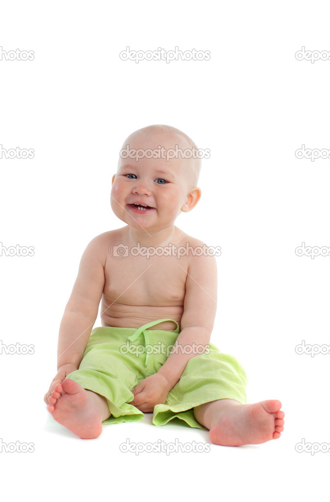Happiness laughing baby on a white background — Stock Photo #1837388