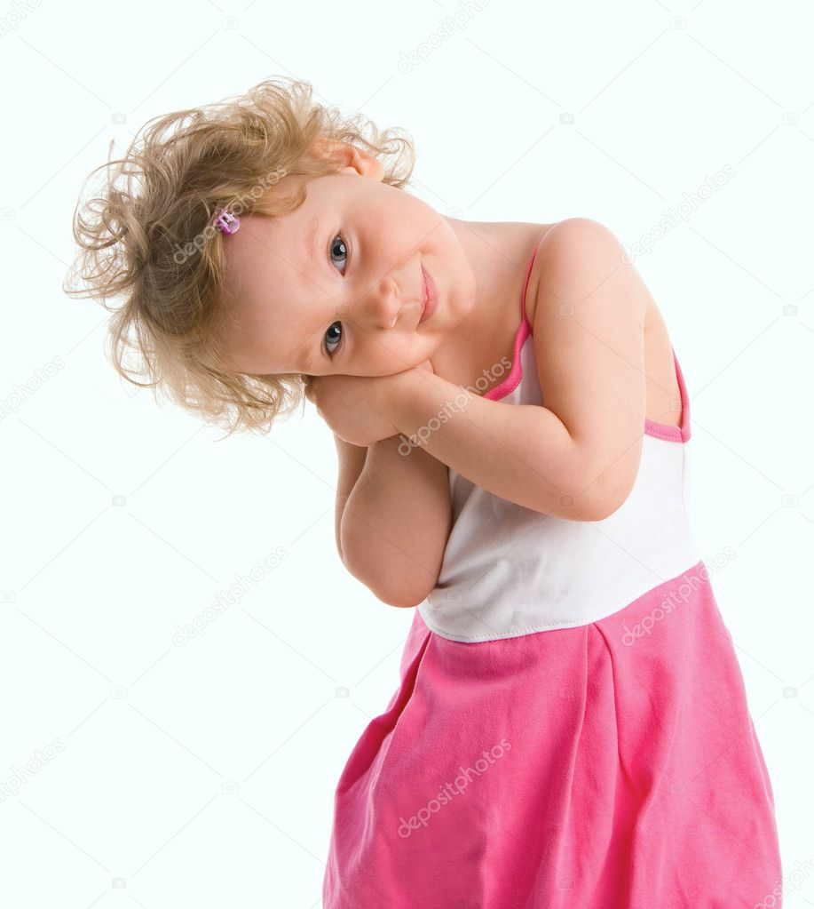Beautiful little girl on the white background — Stock Photo #1838062