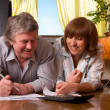 Happy mature couple with documents — Stock Photo