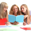 Three happy students — Stock Photo
