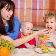 Beautiful happy mum with children — Stock Photo