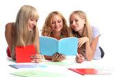 Trzech studentów szczęśliwy — Zdjęcie stockowe