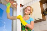 Mujeres limpieza una ventana 3 — Foto de Stock