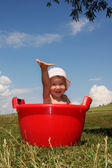 Happiness baby in a trough — Stock Photo