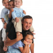 Father plays with four children — Stock Photo