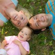 Happiness family on the grass — Stock Photo