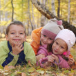 Happy children in autumn park 5 — Stock Photo