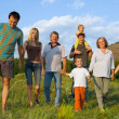 Stock Photo: Happy big family on the nature