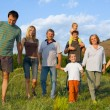 Happy big family on the nature - Stock Photo