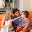 Happy family of the house on a sofa 7 — Stock Photo