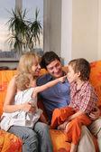 Happy family of the house on a sofa 7 — Stock Photo