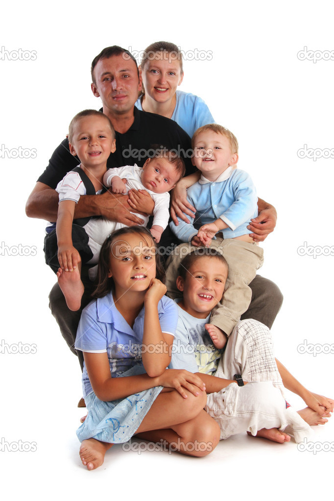 Happiness large family with five children  Stock Photo #1852292